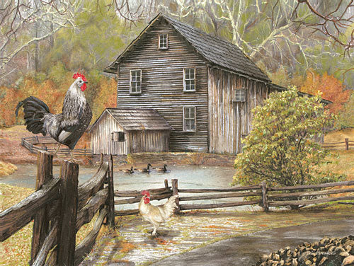 Ed Wargo ED354 - Down on the Farm I - Rooster, Landscape, Barn, Trees from Penny Lane Publishing