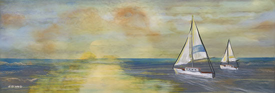 Ed Wargo ED434 - ED434 - Sailing - 18x6 Coastal, Sailing, Sailboats, Sunset, River, Landscape from Penny Lane