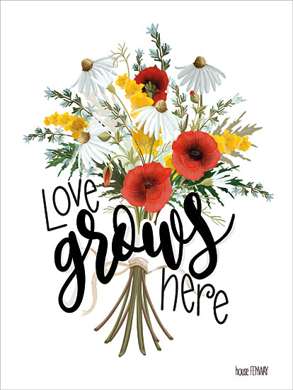 House Fenway FEN101 - FEN101 - Love Grows Here - 12x16 Signs, Typography, Flowers, Bouquet from Penny Lane
