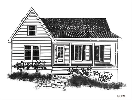 House Fenway FEN115 - FEN115 - Farmhouse I - 16x12 Black & White, Farmhouse from Penny Lane