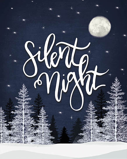 House Fenway FEN124 - FEN124 - Silent Night - 12x16 Silent Night, Holidays, Pine Trees, Moon, Winter, Snow, Signs from Penny Lane