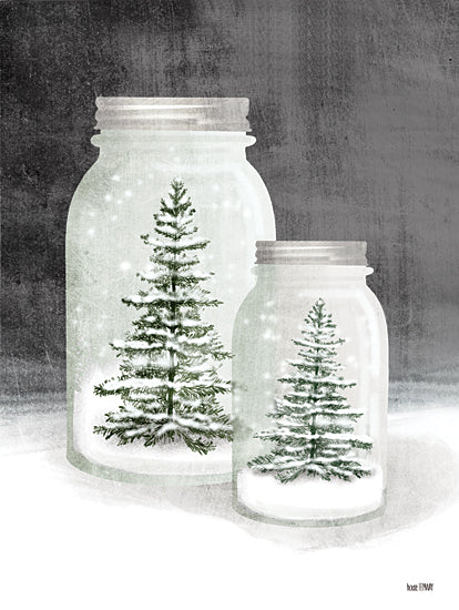 House Fenway FEN158 - FEN158 - Mason Snowglobes - 12x16 Christmas Trees, Glass Jars, Still Life, Snow from Penny Lane
