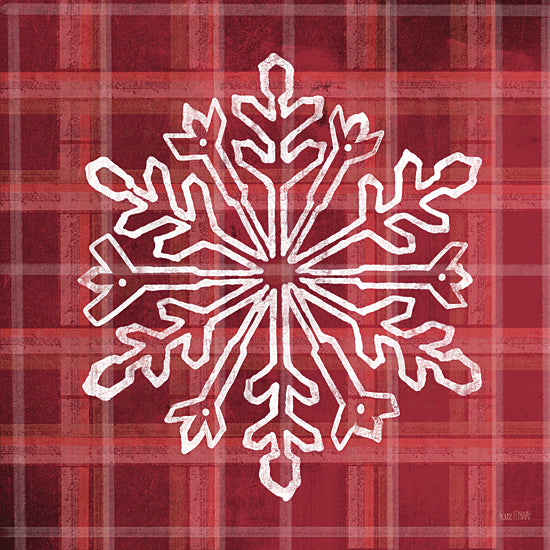 House Fenway FEN160 - FEN160 - Red Plaid Snowflakes - 12x12 Snowflake, Plaid, Red & White, Patterns, Winter from Penny Lane