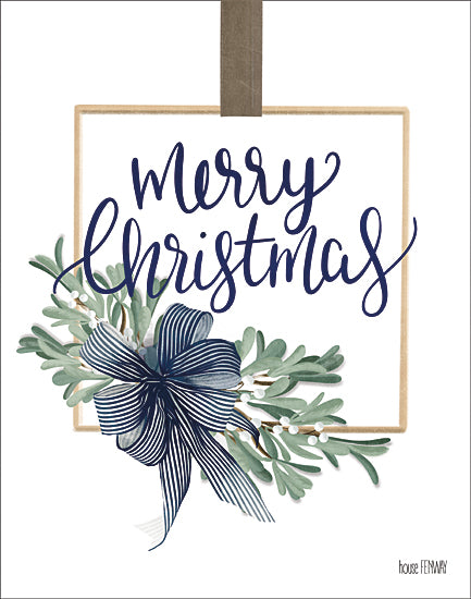 House Fenway FEN204 - FEN204 - Merry Christmas Mistletoe I - 12x16 Merry Christmas, Holidays, Mistletoe, Bow, Calligraphy, Signs from Penny Lane