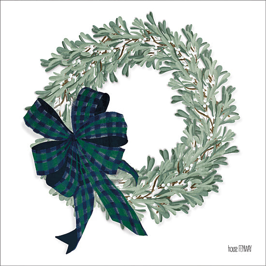 House Fenway FEN207 - FEN207 - Mistletoe Wreath   - 12x12 Mistletoe Wreath, Wreath, Mistletoe, Holidays, Bow   from Penny Lane