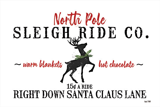 House Fenway FEN225 - FEN225 - Sleigh Rides   - 18x12 Sleigh Rides, Reindeer, North Pole, Holidays, Signs from Penny Lane