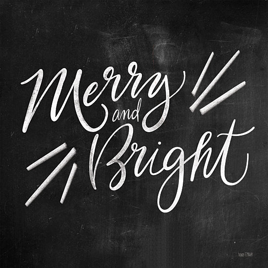 House Fenway FEN228 - FEN228 - Merry and Bright - 12x12 Merry and Bright, Holidays, Christmas, Black & White, Signs from Penny Lane
