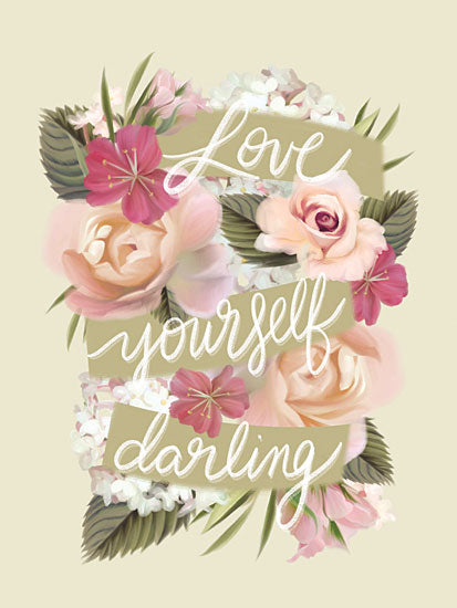 House Fenway FEN295 - FEN295 - Love Yourself Darling - 12x16 Love Yourself Darling, Motivational, Love, Flowers,  Banner, Botanical from Penny Lane