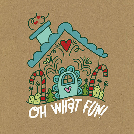Erin Barrett FTL153 - FTL153 - Oh What Fun    - 12x12 Signs, Typography, Oh What Fun, Gingerbread House from Penny Lane