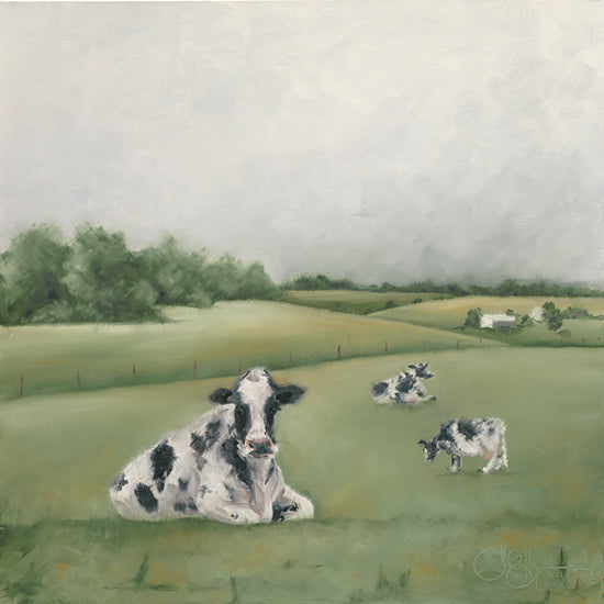 Hollihocks Art HH155 - HH155 - Down on the Farm I - 12x12 Cows, Landscape, Farm, Countryside from Penny Lane