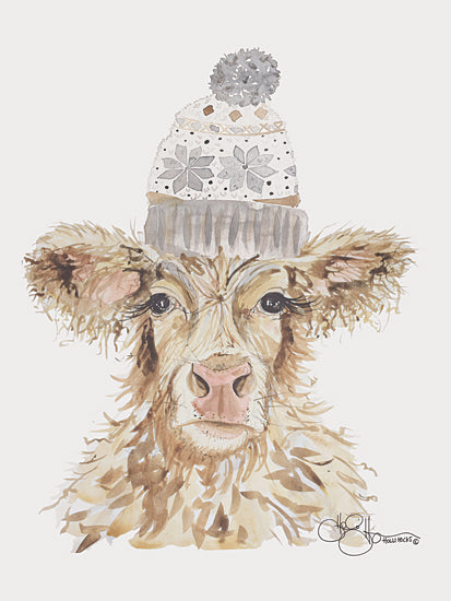 Hollihocks Art HH160 - HH160 - Cozy Cow   - 12x16 Cow, Beanie, Portrait from Penny Lane