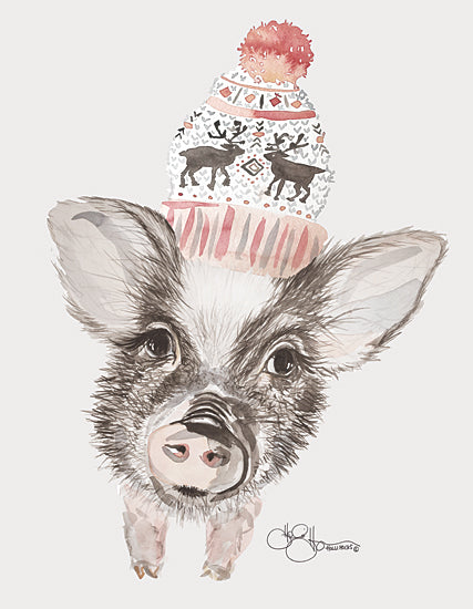 Hollihocks Art HH162 - HH162 - Cozy Pig    - 12x16 Pig, Beanie, Portrait from Penny Lane