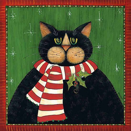 Lisa Hilliker HILL672 - Red Striped Scarf Cat - Cat, Holly, Scarf, Holiday from Penny Lane Publishing