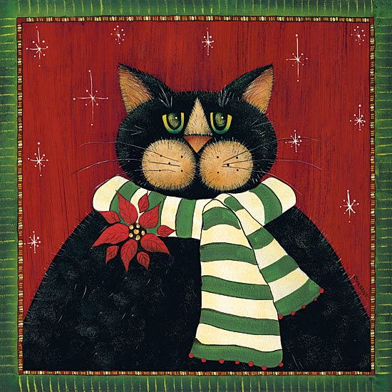 Lisa Hilliker HILL673 - Green Striped Scarf Cat - Cat, Poinsettia, Scarf, Holiday from Penny Lane Publishing
