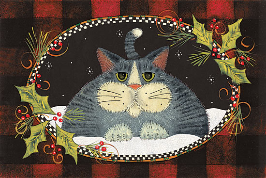 Lisa Hilliker HILL674 - Red Plaid Cat - Cat, Holly, Holiday, Plaid, Lodge from Penny Lane Publishing
