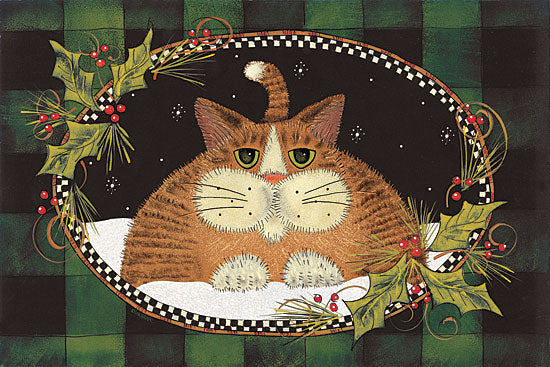 Lisa Hilliker HILL675 - Green Plaid Cat - Cat, Holly, Holiday, Plaid, Lodge from Penny Lane Publishing