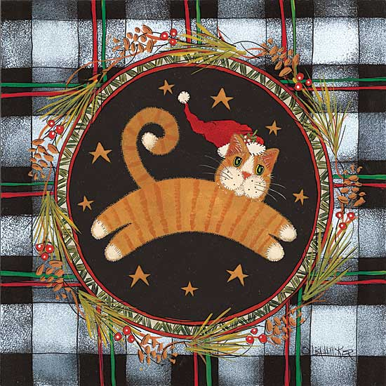 Lisa Hilliker HILL676 - Jumping Tan Cat - Cat, Santa Hat, Wreath, Plaid, Lodge from Penny Lane Publishing