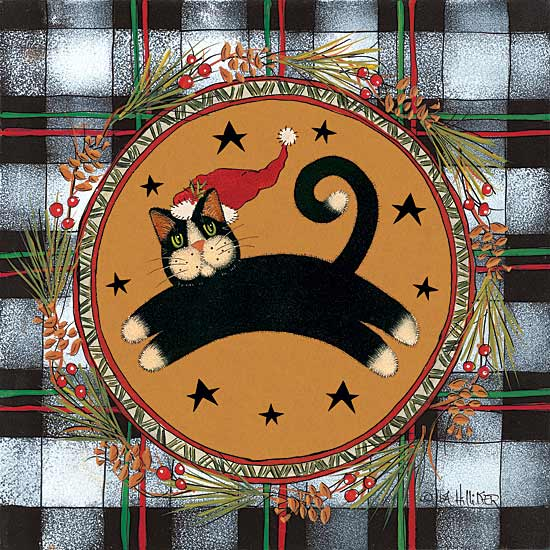 Lisa Hilliker HILL677 - Jumping Black Cat - Cat, Santa Hat, Wreath, Plaid, Lodge from Penny Lane Publishing
