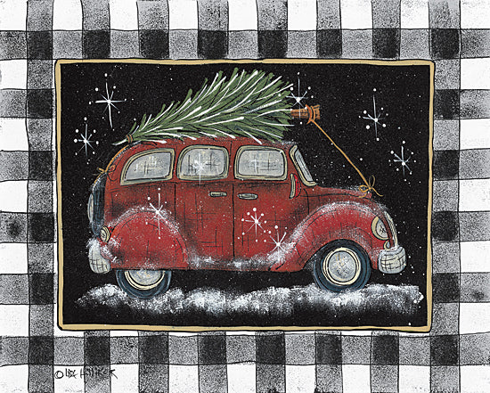 Lisa Hilliker HILL728 - HILL728 - Ready For Christmas   - 16x12 Car, Red Car, Christmas Tree, Holidays, Black & White Plaid, Winter from Penny Lane