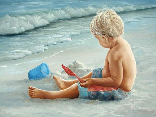 Georgia Janisse JAN125 - In the Sand  - Child, Boy, Sand Castle, Builder, Toys, Coast from Penny Lane Publishing