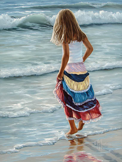 Georgia Janisse JAN127 - The Striped Skirt  - Woman, Coastal, Sand, Ocean from Penny Lane Publishing