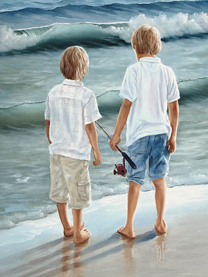 Georgia Janisse JAN128 - Going Fishing  - Boys, Children, Fishing, Ocean, Sand, Coastal from Penny Lane Publishing
