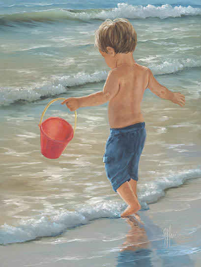 Georgia Janisse JAN181 - Water Play II - Boy, Child, Sand, Ocean, Waves, Coast from Penny Lane Publishing