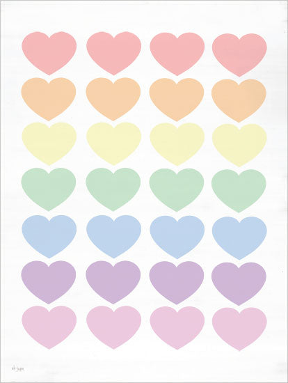 Jaxn Blvd. JAXN468 - JAXN468 - Pastel Hearts - 12x16 Hearts, Pastel Colors, Tween from Penny Lane