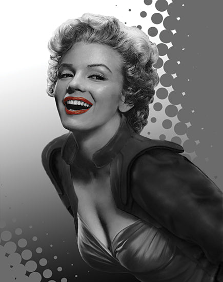 JG Studios JGS369 - JGS369 - Marilyn Gray Dots - 12x16 Marilyn Monroe, Red Lips, Gray Dots from Penny Lane