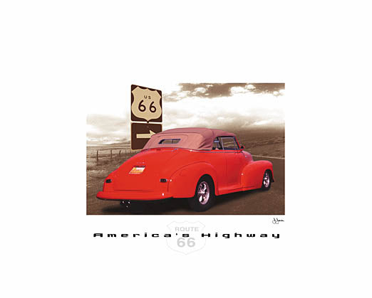 John Jones JJAR129 - America's Highway - Route 66, Red Car from Penny Lane Publishing