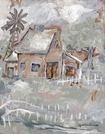 Jessica Mingo JM272 - JM272 - House  - 12x16 House, Windmill, Abstract, Fence, Trees from Penny Lane