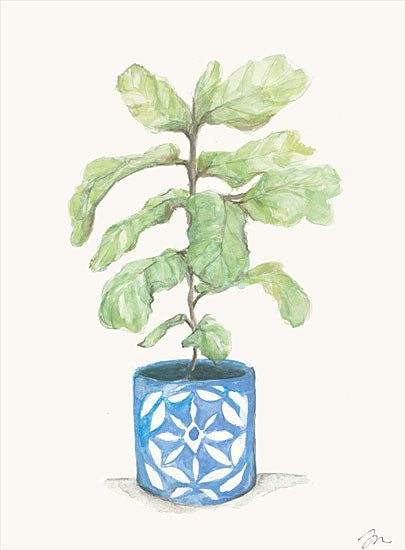 Jessica Mingo JM303 - JM303 - Fiddle Leaf Plant      - 12x16 Plant, Fiddle Leaf Plant, Blue and White Planter, Greenery from Penny Lane