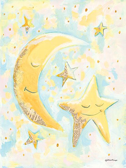 Jessica Mingo JM327 - JM327 - Moon and Star Friends - 12x16 Moon, Stars, Baby, Pastel Colors from Penny Lane