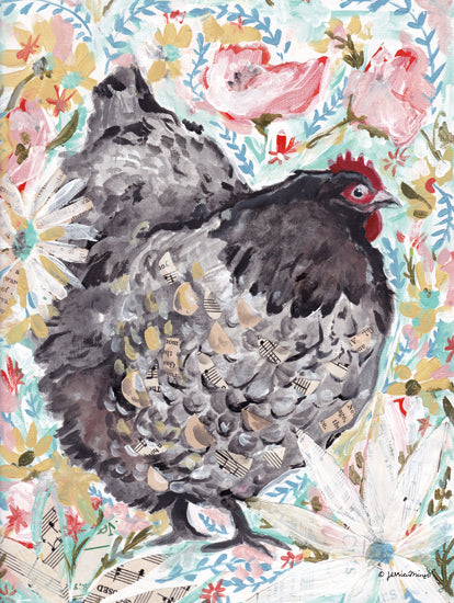 Jessica Mingo JM390 - JM390 - Gerty the Hen - 12x16 Hen, Chicken, Farm Animal, Flowers from Penny Lane
