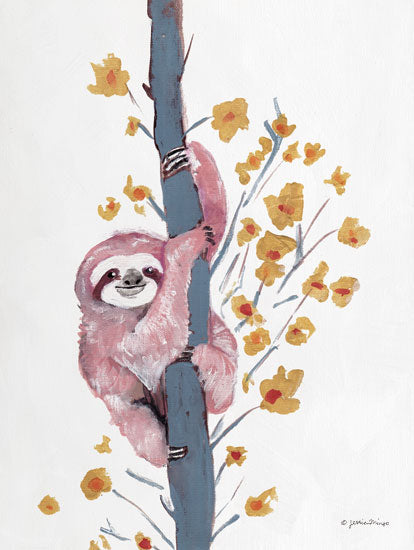 Jessica Mingo JM397 - JM397 - Pink Sloth I - 12x18 Sloth, Tree, Animals from Penny Lane