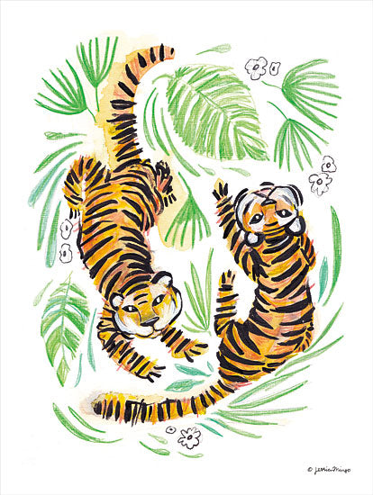 Jessica Mingo JM404 - JM404 - Playful Tigers - 12x16 Tigers, Abstract, Jungle, Leaves from Penny Lane