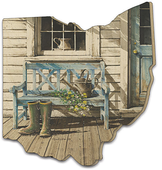John Rossini JR106OH - Cheerful Chores  - - Front Porch, Boots, Mud-room, Country, Landscape, Front Door, Wood Cutout from Penny Lane Publishing