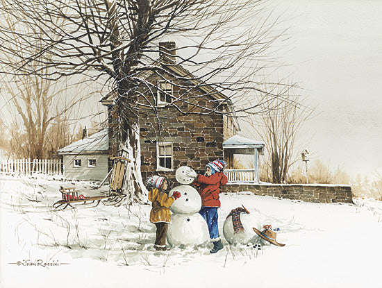 John Rossini JR133 - The Joy of Snow - Children, Snowman, Field, House, Landscape from Penny Lane Publishing