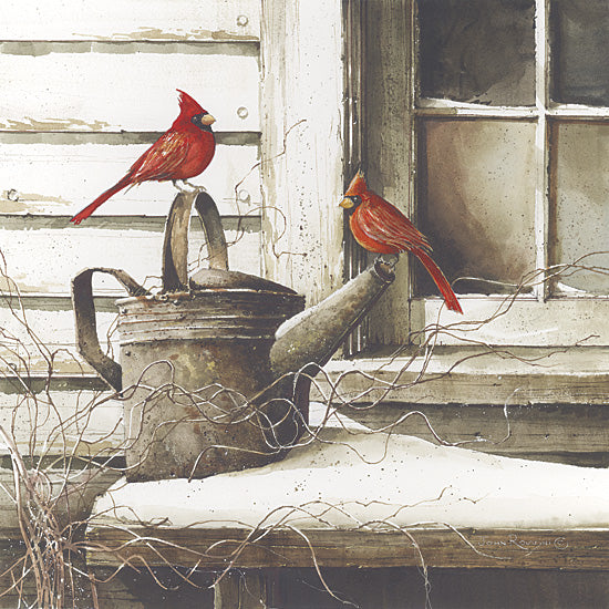 John Rossini JR139 - Waiting for Spring - Cardinals, Watering Can, Window, Snow from Penny Lane Publishing