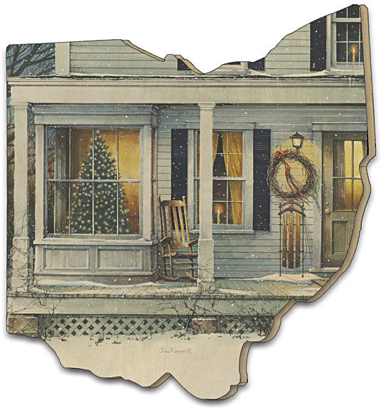 John Rossini JR140OH - December Glow - Country, Front Porch, Winter, Sleds, Christmas, Tree, Wood Cutout, Painting from Penny Lane Publishing