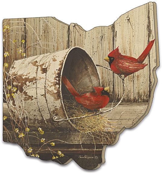 John Rossini JR153OH - Playing Around - Cardinals, Country, Primitive, Shelf, Birdhouse, Painting, Wood Cutout from Penny Lane Publishing