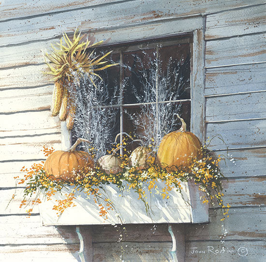 John Rossini JR161 - Window Dressing - Pumpkins, Gourds, Corn, Herbs, Dried Flowers, Window from Penny Lane Publishing