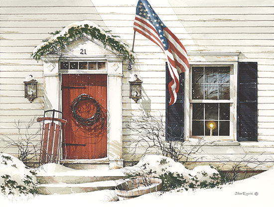John Rossini JR177 - 21 Main Street - American Flag, Front Porch, Sled, Door, Wreath from Penny Lane Publishing