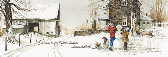 John Rossini JR185 - Snowmen from Heaven - Children, Snowman, Field, House, Landscape from Penny Lane Publishing