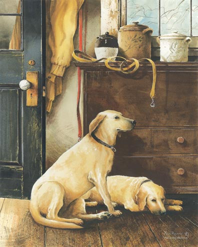 John Rossini JR212 - Patiently Waiting  - Dogs, House, Pots from Penny Lane Publishing