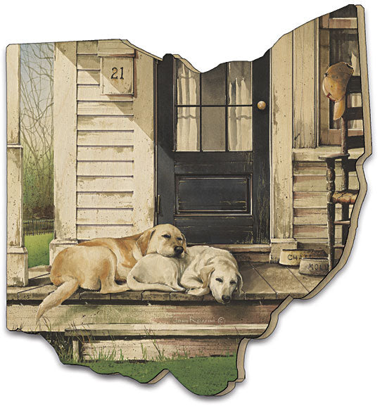 John Rossini JR234OH - Chase & Molly - Front Porch, Dogs, Lab, Country, Front Door, Painting, Rocking Chair, Wood Cutout from Penny Lane Publishing