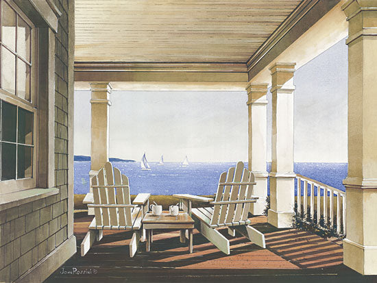 John Rossini JR331 - Veranda View - Porch, Adirondack Chairs, Ocean from Penny Lane Publishing