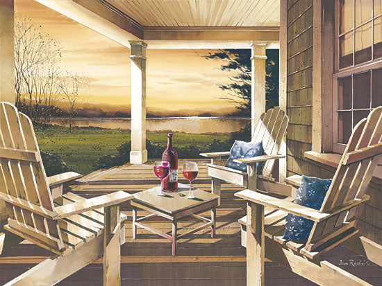 John Rossini JJR333 - Sunset with Wine - Porch, Wine, Sunset, Landscape from Penny Lane Publishing