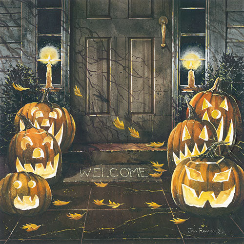 John Rossini JR342 - Halloween Hello - Jack O'Lanterns, Scary, Pumpkins, Autumn, Halloween, Porch from Penny Lane Publishing