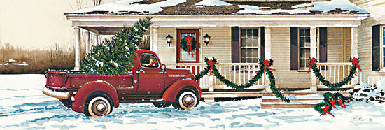 John Rossini JR354A - JR354A - Preparing for Christmas  - 36x12 House, Truck, Christmas Trees, Front Porch, Holidays, Snow from Penny Lane